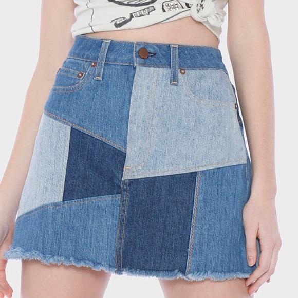 Alice + Olivia Dresses & Skirts - Alice & Olivia patchwork denim skirt